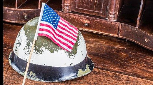 American flag on army helmet