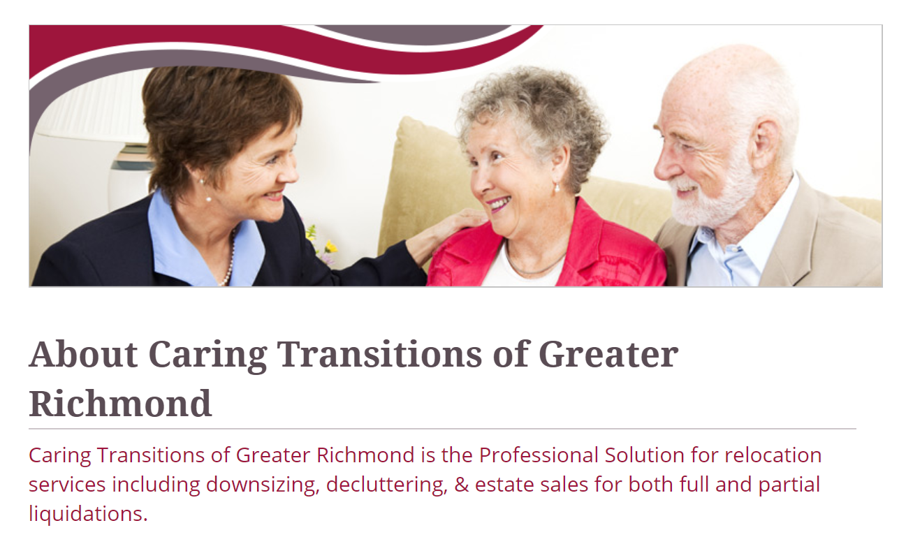 Screen Shot of Caring Transitions of Richmond Press Release